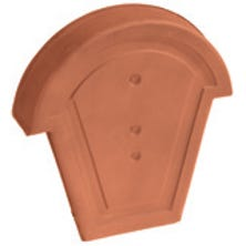Half round ridge end piece, socketed Natural Red
