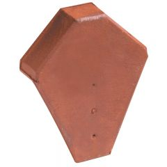 Ridge end piece for angled ridge tile with interlock