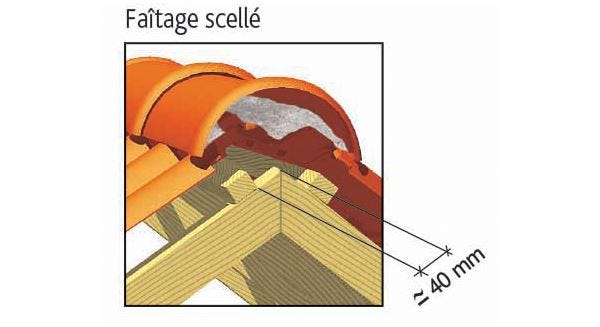 Clay tile DOUBLE PANNE S of EDILIANS : Laced ridge