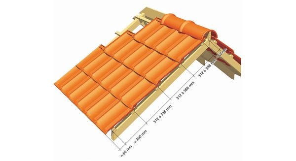 Dimentions for the implementation of the Clay tile H 10 of EDILIANS
