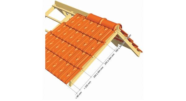 Dimentions for the implementation of the Clay tile LOSANGEE Huguenot of EDILIANS