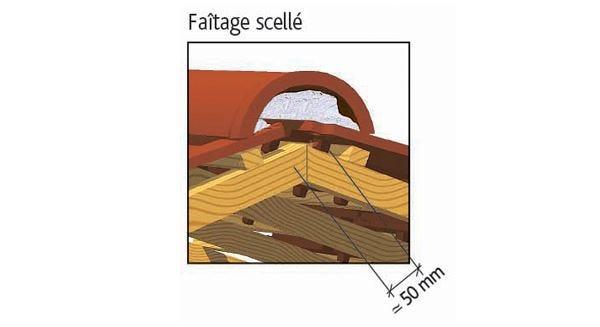 Clay tile PANNE H2 Huguenot of EDILIANS : Laced ridge
