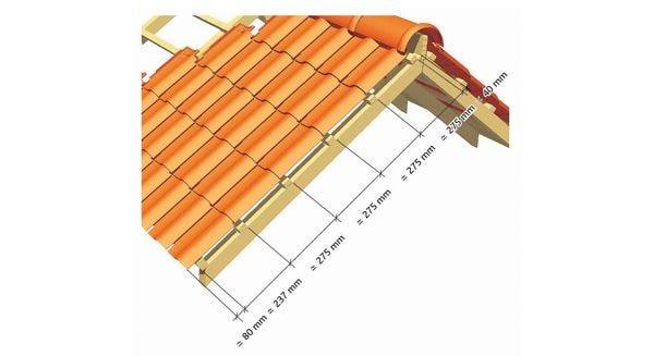 Dimentions for the implementation of the Clay tile PANNE S of EDILIANS